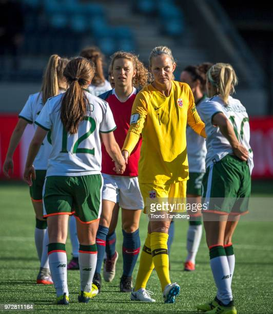 Synne Skinnes Hansen Ingrid Hjelmseth of Norway after 2019 FIFA Womens World Cup Qualifier between Norway v Republic of Ireland at Viking Stadion on...