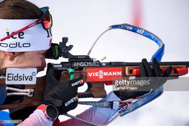 Synnoeve Solemdal of Norway at the shooting range during a training session for the IBU World Championships Biathlon Antholz-Anterselva on February...