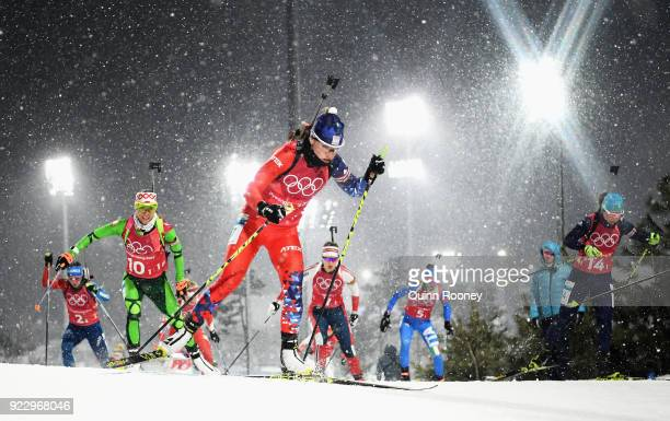 Synnoeve Solemdal of Norway competes during the Women's 4x6km Relay on day 13 of the PyeongChang 2018 Winter Olympic Games at Alpensia Biathlon...