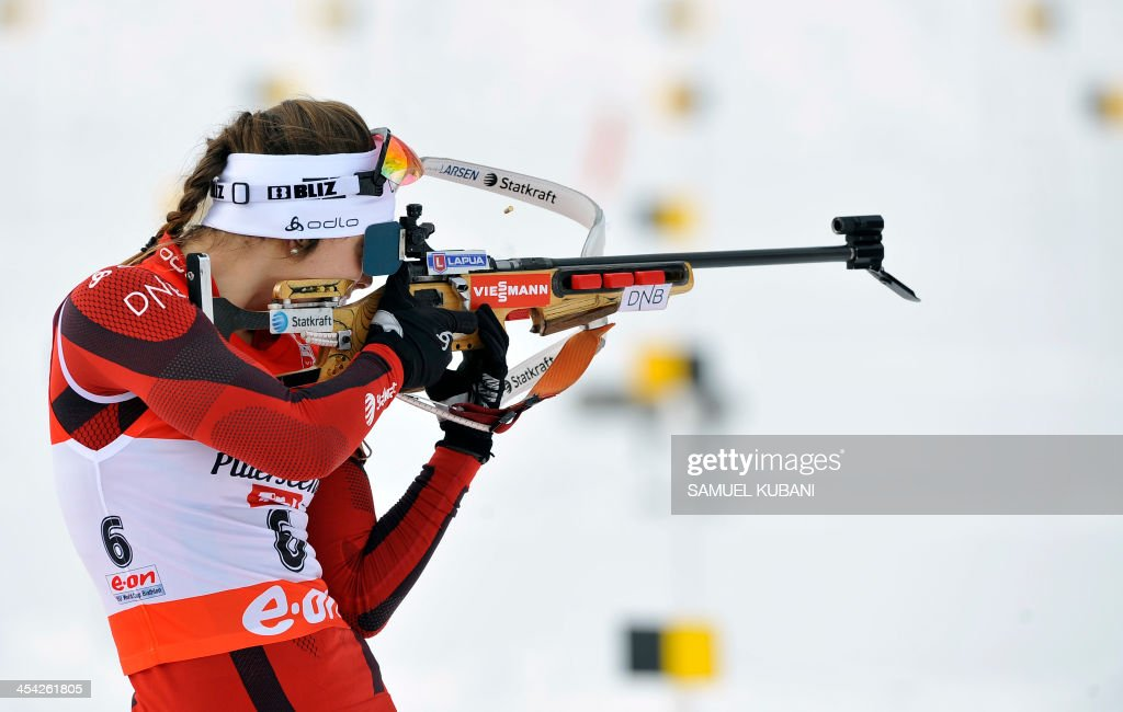 Synnoeve Solemdal of Norway competes during the women's10km pursuit competition of the IBU Biathlon World Cup in Hochfilzen, Austria, on December 8, 2013. Norway's Synnoeve won ahead of Ukraine's Julia Dzyhma and Poland's Krystyna Palka.