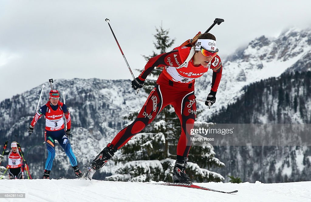 Synnoeve Solemdal of Norway competes in the women's 10km pursuit event during the IBU Biathlon World Cup on December 8, 2013 in Hochfilzen, Austria.