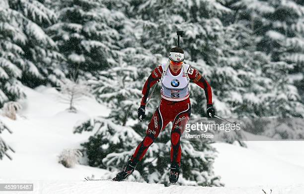 Synnoeve Solemdal of Norway competes in the women's 75km sprint event during the IBU Biathlon World Cup on December 6 2013 in Hochfilzen Austria