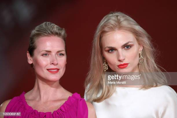 Synnove Macody Lund and Andreja Pejic walk the red carpet ahead of the 'The Girl In The Spider's Web' screening during the 13th Rome Film Fest at...