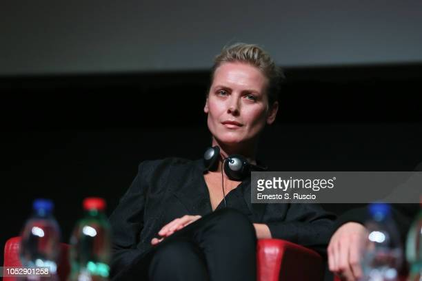 Synnove Macody Lund attends the 'The Girl In The Spider's Web' press conference during the 13th Rome Film Fest at Auditorium Parco Della Musica on...