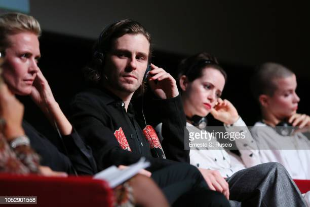 Synnove Macody Lund Sverrir Gudnason Claire Foy and Sylvia Hoeks attend the 'The Girl In The Spider's Web' press conference during the 13th Rome Film...