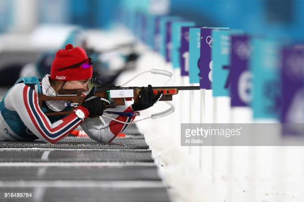 Synnove Solemdal of Norway practices ahead of the Women's Biathlon 75km Sprint on day one of the PyeongChang 2018 Winter Olympic Games at Alpensia...