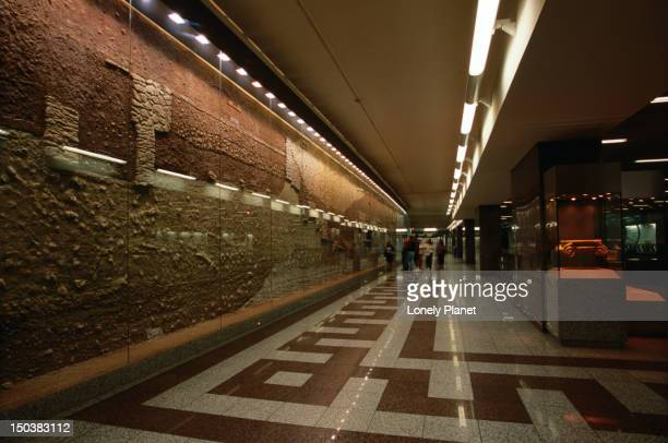 Syntagma Metro station exhibits archaeological artefacts found during the excavation works.