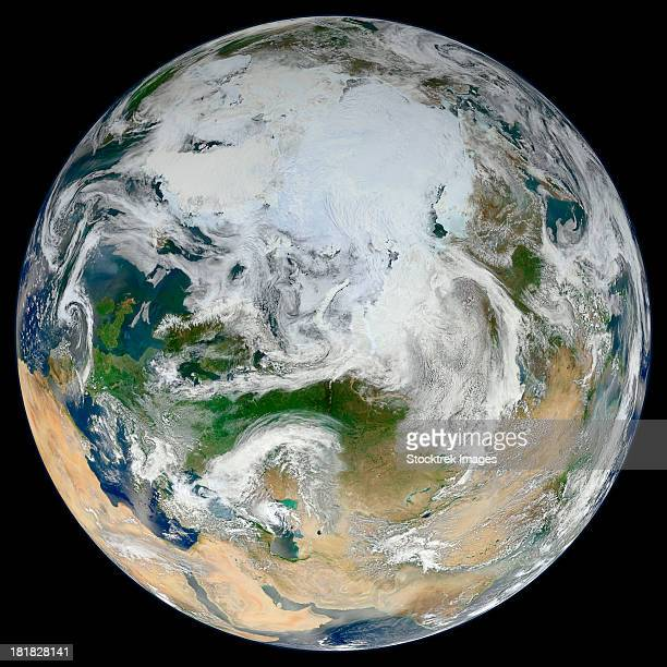 A synthesized view of Earth showing the Arctic, Europe and Asia.