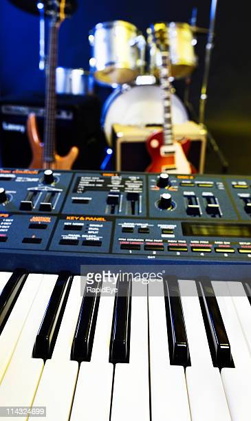 synthesizer, guitar and drums - musical equipment stock pictures, royalty-free photos & images