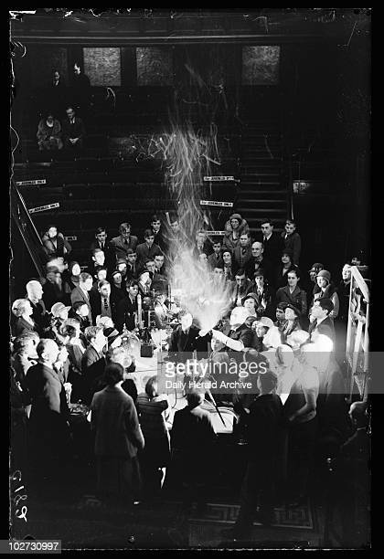Synthetic snowstorm in a lecture at the Royal Institution London 1933 A photograph of Professor Alexander Oliver Rankine producing a synthetic...