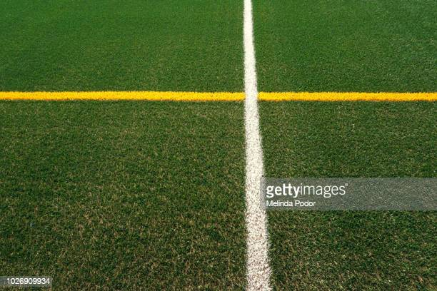 Synthetic turf on a sports field