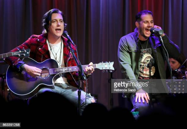 Synyster Gates and M Shadows of Avenged Sevenfold perform at An Evening With Avenged Sevenfold at The GRAMMY Museum on October 19 2017 in Los Angeles...