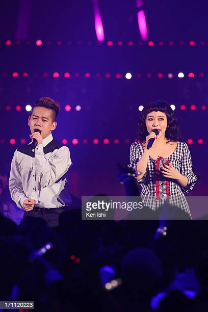 Syota Shimizu and Miliyah Kato perfom onstage during the MTV VMAJ 2013 at Makuhari Messe on June 22 2013 in Chiba Japan