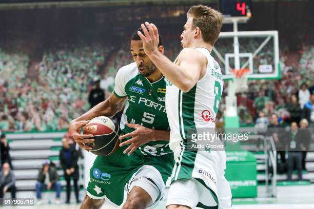 Sypir Traore of Le Portel and Heiko Schaffartzik of Nanterre during the French Cup match between Nanterre and Le Portel on February 13 2018 in...
