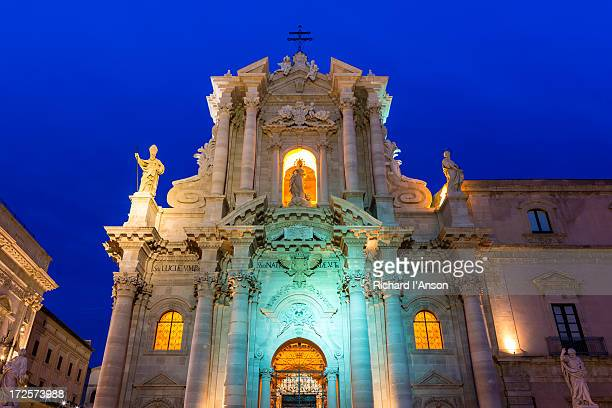Syracuse Cathedral on Ortygia at dusk