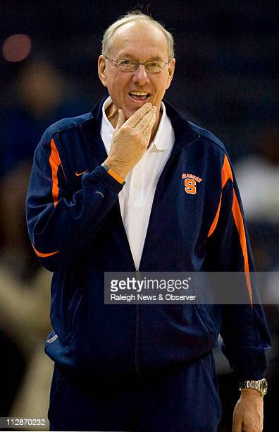 Syracuse coach Jim Boeheim watches his team during practice on Thursday March 26 for an NCAA men's college basketball tournament game at the...