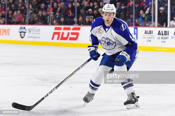 Syracuse Crunch center Anthony Cirelli tracks the play during the Syracuse Crunch versus the Laval Rocket game on January 24 at Place Bell in Laval QC