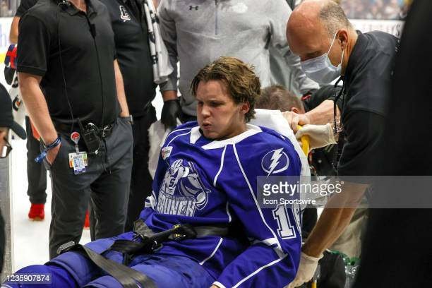 Syracuse Crunch forward Otto Somppi leaves the ice on a stretcher after taking a hard hit into the boards during the second period of the American...