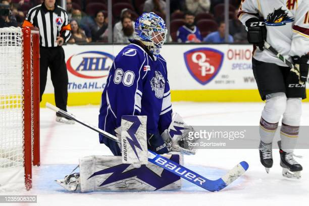 Syracuse Crunch goalie Hugo Alnefelt with a glove save during the third period of the American Hockey League game between the Syracuse Crunch and...