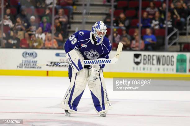 Syracuse Crunch goalie Max Lagace leaves the game with an apparent injury during the second period of the American Hockey League game between the...