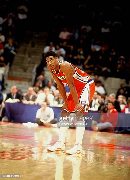 Syracuse guard Lawrence Motin takes a breather during a game against UConn in Hartford CT 1990
