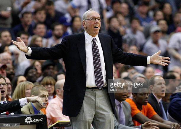 Syracuse head coach Jim Boeheim questions a call in the first half against Georgetown at the Verizon Center in Washington DC Saturday March 9 2013