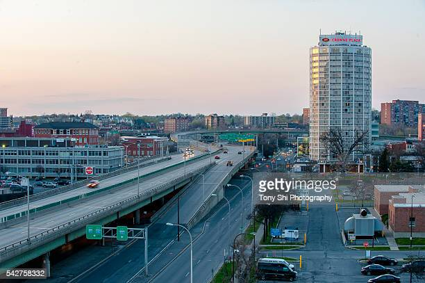 syracuse - interstate 81 and downtown - syracuse new york stock pictures, royalty-free photos & images
