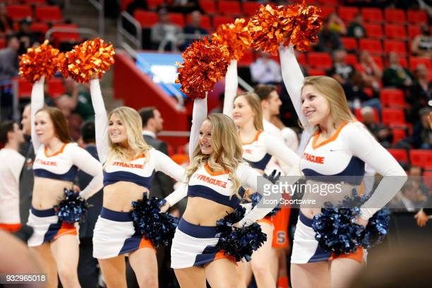 Syracuse Orange cheerleaders during the NCAA Division I Men's Basketball Championship First Round game between the TCU Horned Frogs and the Syracuse...