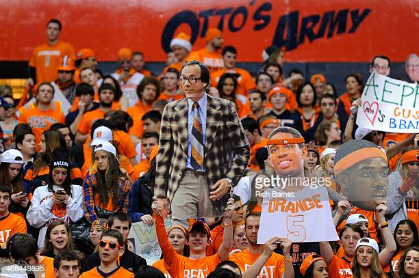 Syracuse Orange fan holds up a cut out sign of head coach Jim Boeheim prior to the game against the Duke Blue Devils at the Carrier Dome on February...