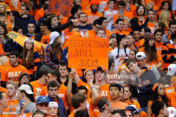 Syracuse Orange fan holds up a sign prior to the game against the Duke Blue Devils at the Carrier Dome on February 1 2014 in Syracuse New York...