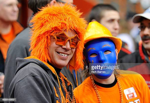 Syracuse Orange fans pose for a photo prior to the game against the Duke Blue Devils at the Carrier Dome on February 1 2014 in Syracuse New York...