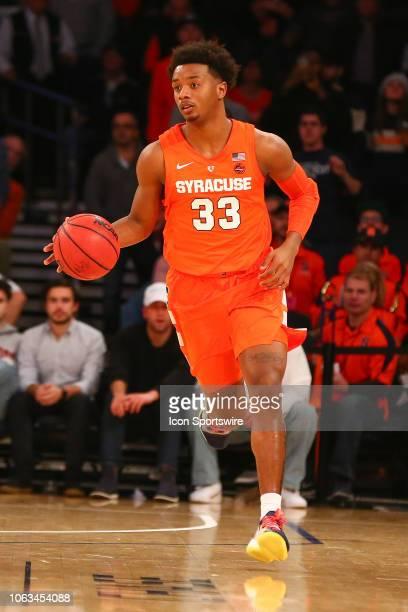 Syracuse Orange forward Elijah Hughes during the College Basketball game between the Syracuse Orange and the Connecticut Huskies on November 15 2018...