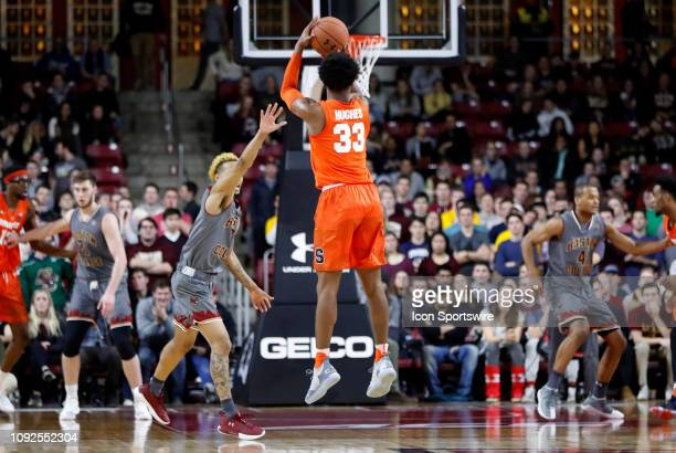 Syracuse Orange forward Elijah Hughes takes a three during a game between the Boston College Eagles and the Syracuse University Orange on January 30...