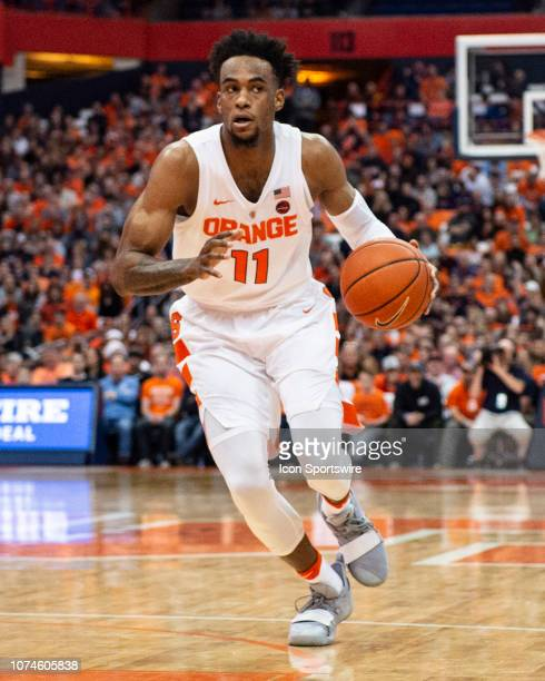 Syracuse Orange Forward Oshae Brissett dribbles the ball down the lane during the second half to the Arkansas State Red Wolves versus the Syracuse...