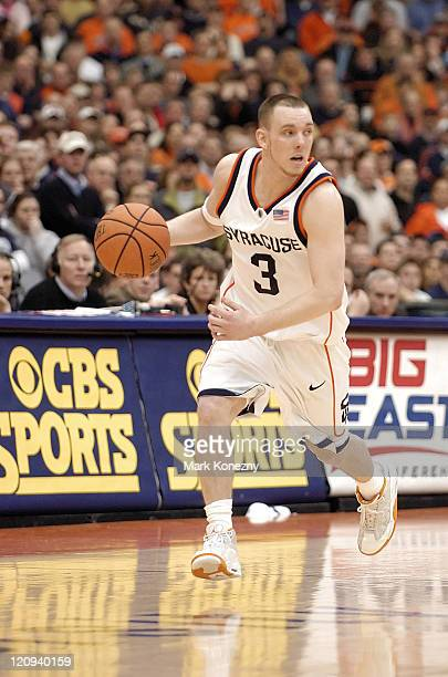 Syracuse Orange guard Gerry McNamara brings the ball upcourt during a game against the Villanova Wildcats at the Carrier Dome in Syracuse New York on...