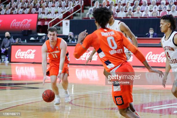 Syracuse Orange guard Joseph Girard III bounce passes to Syracuse Orange forward Alan Griffin during a game between the Boston College Eagles and the...