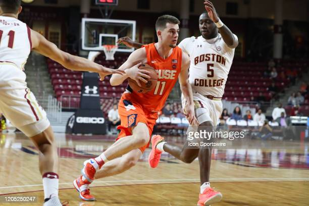 Syracuse Orange guard Joseph Girard III drives the ball to the paint during the game between Boston College and Syracuse on March 3 at Conte Forum in...