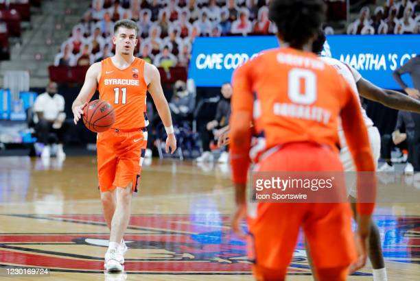 Syracuse Orange guard Joseph Girard III looks for Syracuse Orange forward Alan Griffin during a game between the Boston College Eagles and the...