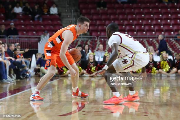 Syracuse Orange guard Joseph Girard III protects the ball during the game between Boston College and Syracuse on March 3 at Conte Forum in Chestnut...