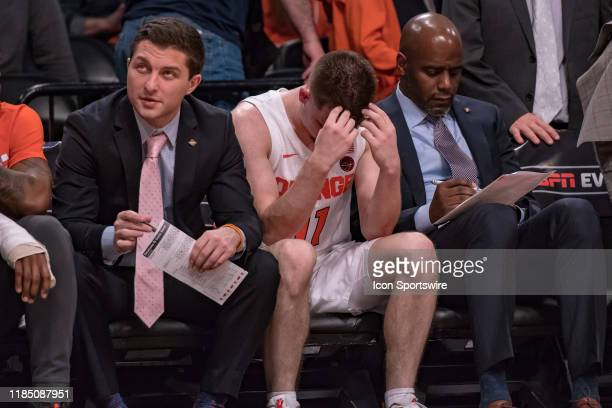 Syracuse Orange guard Joseph Girard III reacts during the second half of the NIT Season TipOff semifinal round game between the Oklahoma State...