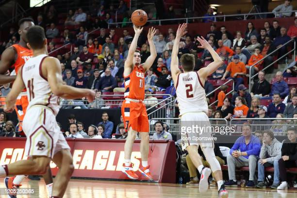 Syracuse Orange guard Joseph Girard III shoots for three points during the game between Boston College and Syracuse on March 3 at Conte Forum in...