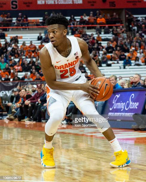 Syracuse Orange Guard Tyus Battle looks for an opening during the second half of the Northeastern Huskies versus the Syracuse Orange on December 4 at...