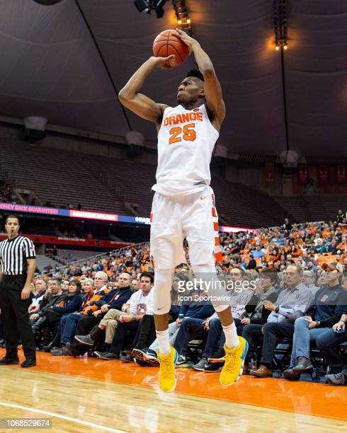 Syracuse Orange Guard Tyus Battle shoots a jump shot during the second half of the Northeastern Huskies versus the Syracuse Orange on December 4 at...