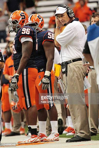 Syracuse Orange head coach Doug Marrone looks on from the sideline during the game against the Rhode Island Rams on September 10 2011 at the Carrier...