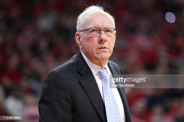 Syracuse Orange head coach Jim Boeheim during the 1st half of the NC State Wolfpack game versus the Syracuse Orange on February 13th at PNC Arena in...
