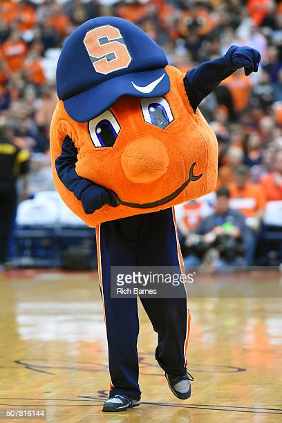 Syracuse Orange mascot Otto performs prior to the game against the Georgia Tech Yellow Jackets at the Carrier Dome on January 30 2016 in Syracuse New...