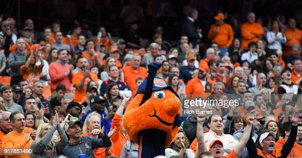 Syracuse Orange mascot Otto sheers with fans in the stands against the Wake Forest Demon Deacons during the second half at the Carrier Dome on...