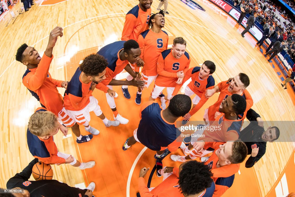 Syracuse Orange players huddle up before the game against the Cornell Big Red at the Carrier Dome on November 10, 2017 in Syracuse, New York.