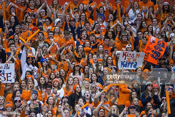 Syracuse Orange student section during the game between the Syracuse Orange and the Duke Blue Devils on February 14 2015 at The Carrier Dome in...