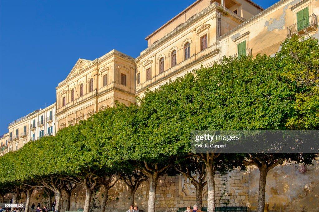Syrakus, Spazierweg Aretusa (Sizilien, Italien) : Stock-Foto